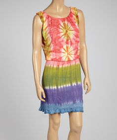 Love this Pink & Green Tie-Dye Shirred Sleeveless Dress by Royal Handicrafts on #zulily! #zulilyfinds