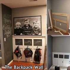 It is very common that kids' backpacks don't have a proper place and they are placed almost everywhere where space is available. To make this backpack wall you have to make a wooden framework as shown in the photo. After that paint the frame and the wall. In the upper 3 blocks use chalkboard paint if you want to add an element of fun by writing your kids names on them. Add hooks and there you go. If you require any further details about this project hop over to scatter shot dot com.