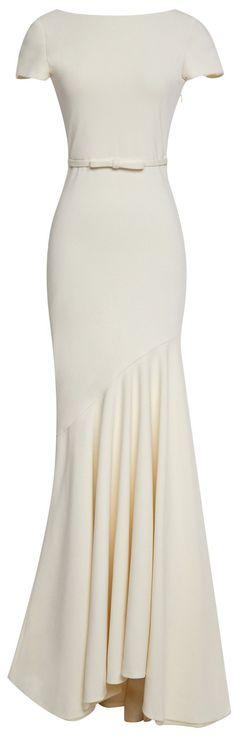 Boat-Neck Drape Hem Gown-White