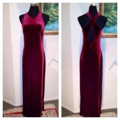 LAUNDRY by SHELLI SEGAL MAXI DRESS SIZE 8 Absolutely gorgeous maxi dress in a velvety deep cranberry texture and color. Sexy back with crisscross and side zipper. Fits a size 8 and has a lot of give to it. LAUNDRY by Shelli Segal Dresses Maxi