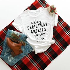 Eating Cookies For Two Christmas Pregnancy Announcement Shirt