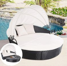 Tangkula Outdoor Patio Sofa Furniture Round Retractable Canopy Daybed Black Wicker Rattan ** You can find more details by visiting the image link. (This is an affiliate link) Wicker Shelf, Wicker Table, Wicker Sofa, Wicker Furniture, Outdoor Furniture, Urban Furniture, Poolside Furniture, Wicker Man, Wicker Dresser