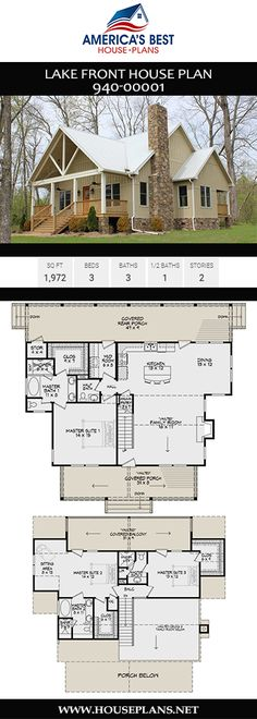 HOUSE PLAN 940-00001 – A simple, yet striking, exterior façade is featured in this Country house plan. Double porches add charm and character and the interior floor plan is open, has three bedrooms and three baths in approximately 1,972 square feet of space.
