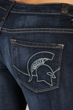 OCJ Apparel | Premium Collegiate Denim | Michigan State Spartans Skinny Jeans Mascot in Deep Indigo  | www.ocjapparel.com