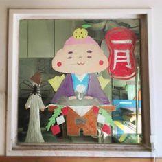 2015/2/2掲載 「ilebois」さんがおこさんの通われている保育園の窓に描かれている月替わりのイラスト作品です。1月 https://www.facebook.com/kitpas2005  #kitpas #キットパス
