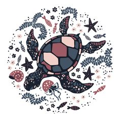 Vector Flat Hand Drawn Turtle Surrounded By Marine Plants And Animals. Wallpaper Iphone Cute, Cute Wallpapers, Marine Plants, Sea Illustration, Mexico Art, Soul Art, Aboriginal Art, Ocean Art, Pretty Art