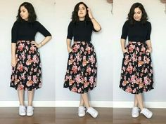 Love the floral skirt! Modest Outfits, Skirt Outfits, Modest Fashion, Skirt Fashion, Stylish Outfits, Casual Dresses, Fashion Dresses, Mode Hijab, Western Outfits