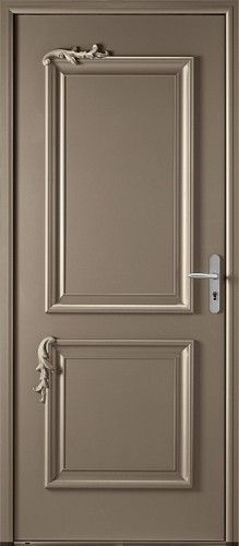 Porte mixte, Porte entree, Bel'm, Classique, Poignee plaque gris deco bel'm, Sans vitrage, Decor en fonte aluminium laque, Chic, Moderne, Baroque, Oracle mixte