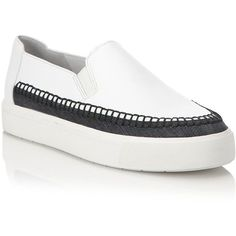 Vince Bates Leather & Denim Platform Slip-On Sneakers featuring polyvore, women's fashion, shoes, sneakers, apparel & accessories, multi, vince sneakers, leather espadrilles, vince shoes, leather platform sneakers and slip on shoes