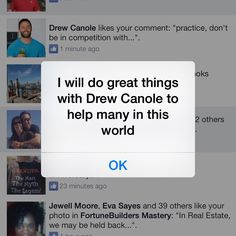 """#drewcanole - check out the timing of this awesomeness!!  I have on my phone alarms set for every hour like you suggested some time ago and they are mostly positive self affirmations.  One is """"I will do great things with Drew Canole and help many in this world"""".  This morning my alarm pops up as it does everyday and then my Facebook messages popped up too with you liking my comment.  Ummm, we totally need to collaborate cuz that is just some wacky awesome timing sh&$, right!?  #maedesmond"""