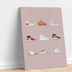 #nike #airjordan #sneakers #shoes Shoe Wall, Air Jordans, Nike, Canvas, Sneakers, Prints, Shoes, Tela, Tennis