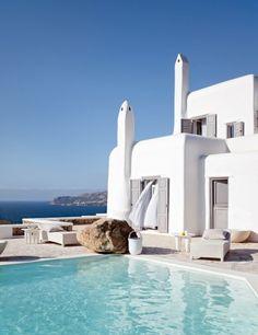 Mykonos : des villas jumelles face à la mer Egée