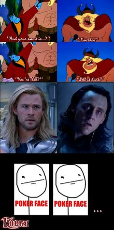 my favorite part of the movie. thor and loki's faces make it more so.