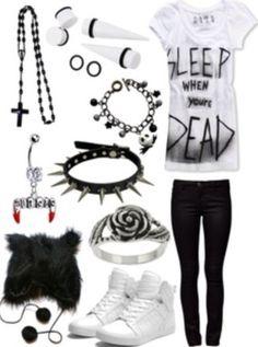 shirt sleep dead emo grunge scene ear plug hat bracelets shoes ring jeans jewels shorts death cross asos claires