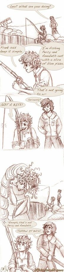 Leo Valdez and Nico Di Angelo - Frankly, I'm utterly shocked Percy let that thing get his blue pizza first.<< pinning for that comment! XD