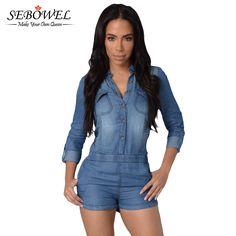 דרך כפרית קיץ Rompers נשים סרבל 2016 מכנסיים Playsuit סרבל נשים סרבל ג 'ינס שרוול ארוך נשי
