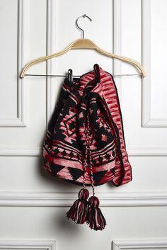 Wayuu Bag Preta e Mescla Vermelho