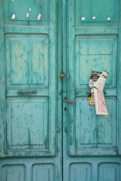 Turquoise | door, mail slot, post