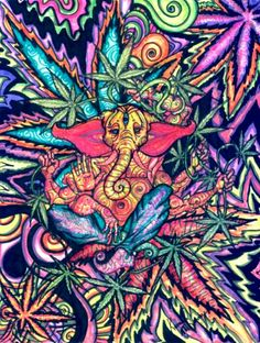 Trippy psychedelic marijuana plant art colorful vibrations