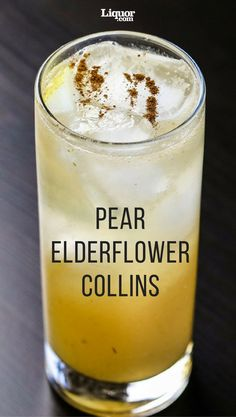 Pear & Elderflower Collins This collins take lets you pick your choice of vodka or gin to pair with fruity flavors. Pear puree and pear liqueur add a double dose of fall flavor to this bubbly highball. Vodka Drinks, Cocktail Drinks, Yummy Drinks, Cocktail Recipes, Alcoholic Drinks, Drink Recipes, Cocktail Ideas, Beverages, Drinks Alcohol