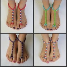 Rainbow Loom for your Feet. I have only made these for friends with beads. Now I get to try something new!!!