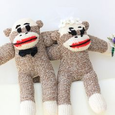 Bride and Groom Sock Monkey  Wedding cake topper by heidibg, $56.00