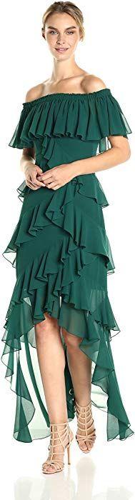 Badgley Mischka Women's Off The Shoulder Ruffle Gown, Dark Emerald, Clothing by Contemporary Dresses, Billabong Women, Jacquard Dress, Gowns Online, Party Dresses For Women, Badgley Mischka, Fit Flare Dress, Dress Brands, Women's Fashion Dresses