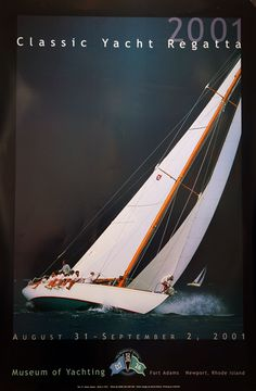 The 12 Meter Sailboat, GLEAM, heads upwind and away from an approaching squall on Narragansett Bay during the Classic Yacht Regatta. POSTER SIZE: 36 x 24