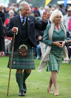 Prince Charles and Duchess Camilla sported tartan ensembles, Prince Charles a tartan kilt.