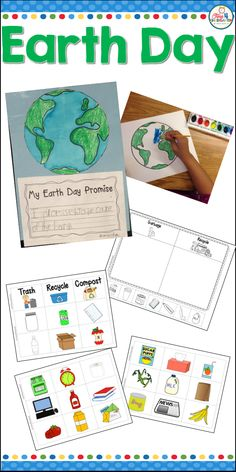 Earth day art and writing project and more.  This mini unit is more than just a beautiful water color art project.  It also has a sorting activity to teach about recycling and composting.  It also include a fun addition coloring worksheet. Perfect for kindergarten students.  The water color crayon resists make a beautiful bulletin board display for open-house
