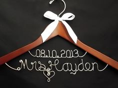 """ALL HANGERS SHIP WITHIN 48 HOURS!"" Wedding Hangers / Bridal Hangers by Lori Lynn's Wedding Hangers.  The perfect gift for the Bride and the wedding party.  :)#wedding #weddings #style #bride"