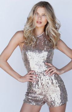 Sherri Hill - 51513 Allover Sequin Halter Neck Romper In Pink and Gold Stage Outfits, Fashion Outfits, Chic Outfits, Womens Fashion, Formal Romper, Sherri Hill, Sequin Dress, Sequin Outfit, Evening Dresses