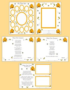 BEE SCRAPBOOK PAGES Wall Art Prints Layout Baby First Year Shower Gift Personalized Photo Boy Girl Ultrasound Sonogram Hand Foot Prints #decampstudios