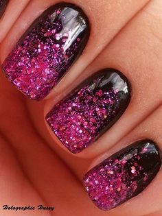 By Jocelyn Fisher. Black Nails with a Pink/Purple Sparkle Ombre @BLOOM.COM