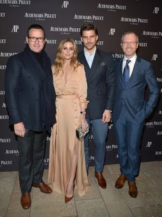 EO of Audemars Piguet Francois-Henry Bennahmias, Olivia Palermo, model Johannes Huebl, and Xavier Nolot, CEO of Audemars Piguet North America attend the Opening of Audemars Piguet Rodeo Drive at Audemars Piguet on December 9, 2015 in Beverly Hills