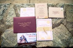 This invitation collection was so beautiful + paired so well with their wedding themes! ::Michaela + Dustin's bold + bright wedding at the Squantum Association in East Providence, Rhode Island:: #purple #bikes #bicycles #bikeloverswedding #weddingthemes #dahlias #flowers #yellow #fallwedding #beautifulcolors #stationary #invitationideas #weddinginvitations