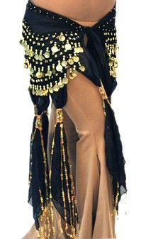 Coin Hip Scarf with Scarf Tassels - BLACK / GOLD