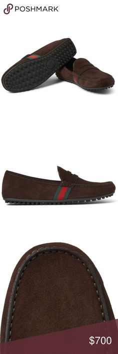 GUCCI Webbing-Trimmed Suede Loafers Brand new with box! Fits true to size! Brown suede Green and red striped webbing trims, leather linings, pebbled rubber soles Come with dust bags Made in Italy Gucci Shoes Loafers & Slip-Ons