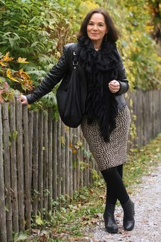 Leather jacket and a leopard skirt