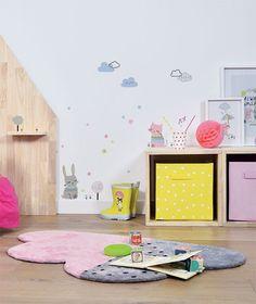 Tapis chambre de bébé, forme nuage rose et gris