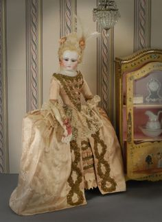 """Details of this early Portrait Jumeau fashion, who at a hard to find smaller size stands nineteen inches tall (24"""" tall overall including th..."""