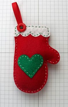Red mitten ornament. Make several for a garland, Embroider names on them