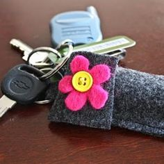 Chapstick Holder Keyring - I'd like to Crochet one of these.