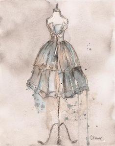 Schöne Skizze von Abendkleid