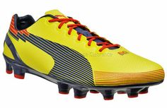 New PUMA EvoSPEED 1 FG Mens Soccer Cleats - Yellow / Purple / Red   http://www.gearhouseclearance.com