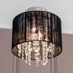 The ornate design of our Beaded Black Drum Shade Flush Mount Light Fixture will give any space a little glam! It's the perfect way to get in on the woven trend. Glass Pendant Light, Chandelier Pendant Lights, Pendant Lamp, Bedroom Light Fixtures, Ceiling Light Fixtures, Ceiling Lights, Light Grey Bathrooms, Flush Mount Lighting, Drum Shade