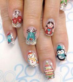 U Xmas Nail Art, Christmas Gel Nails, Snowflake Nail Art, Christmas Nail Art Designs, Winter Nail Art, Best Nail Art Designs, Holiday Nails, Winter Nails, Santa Nails