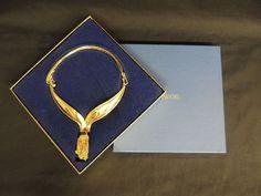 Vintage Designer AVON Goldtone Statement Tassel Necklace Original Box STUNNING  #Avon #Tassel