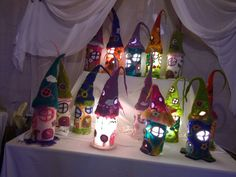Felted Gnome Fairy house light table lamp by HeartmadeDyes on Etsy