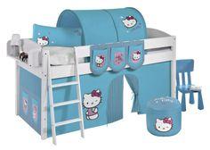 Grenen halfhoogslaper 'Hello Kitty Blue' | Halfhoogslapers en hoogslapers